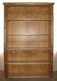Log Bookshelf Featuring Hand Peeled Pine Logs By Timber Creek