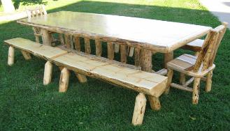 Log Dining Table W/ Side Chairs U0026 Half Log Benches